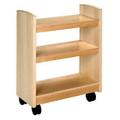 "Rolling Book Cart with Oak Finish 35""H, B34371"