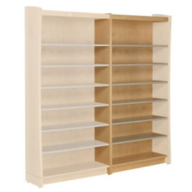 "Single Sided Metal Shelf 60""H  Bookcase Adder with Maple Sides and Back, B34400"