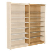 "Single Sided Metal Shelf Bookcase Adder with Oak Sides and Back 42""H, B34397"