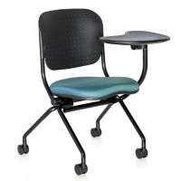 Poly Back and Fabric Seat Nesting Chair with Left Tablet Arm, C70354