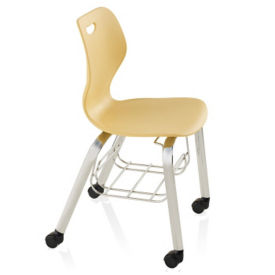 "Four Leg Mobile Student Chair with Bookrack - 18""H for 5th Grade to Adult, C70480"