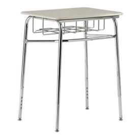 "Plastic Top Adjustable Height Student Desk with Book Basket - 24""W x 18""D, D30227"