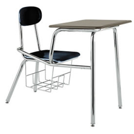 Student Chair Desk with Plastic Flat Top and Book Basket, D30231