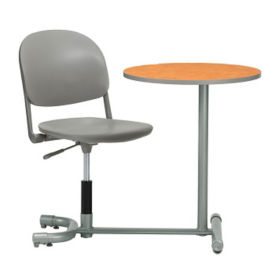 "Poly Student Chair Desk with Rounded Back and Worksurface - 18""W Seat, D35466"