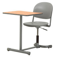 Poly Student Chair Desk with Rounded Back and Rectangular Worksurface , D35467