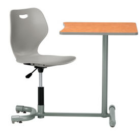 Poly Student Chair Desk with Angled Back and Square Worksurface , D35471