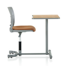 Poly Student Chair Desk with Slotted Back and Rectangular Worksurface , D35473