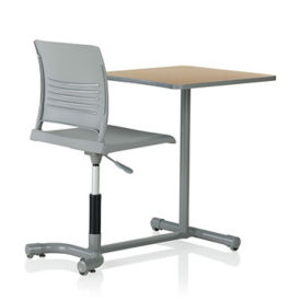 Student Chair Desk with Slotted Back and Square Worksurface , D35474