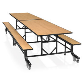 "27""H Fold and Roll Rectangular Cafeteria Table with Benches  - 8 ft, T11685"