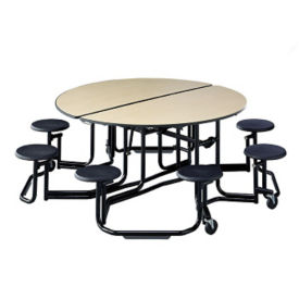 "Mobile Cafeteria Table with Stools and Black Frame - 83.75""DIA x 29""H, T11802"