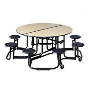 "Mobile Cafeteria Table with Stools and Chrome Frame - 83.75""DIA x 29""H, T11803"
