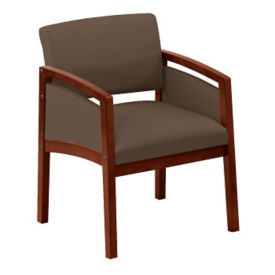 Oversized Vinyl Guest Chair with Paneled Arms, W60725