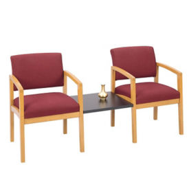 Two Fabric Guest Chairs with Center Table, W60291