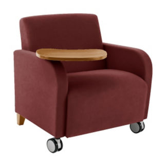 Oversized Vinyl Tablet Arm Chair with Casters, W60708