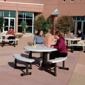 Round Plastic 6 ft Picnic Table with Pull-Out Benches, F10267