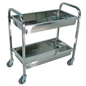 "Two Shelf Stainless Steel Tub Cart - 17-1/2"" x 33-1/2"", B34483"
