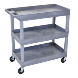Three Shelf High Capacity Tub Cart in Gray, B34499