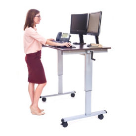 "Manual Height Adjustable Mobile  Desk - 48""W, D30261"