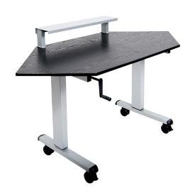 "Manual Height Adjustable Corner Desk with Riser - 58.75""W, D30267"