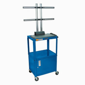 Adjustable Height Metal LCD Cart with Flat Panel Mount and Cabinet, M13196