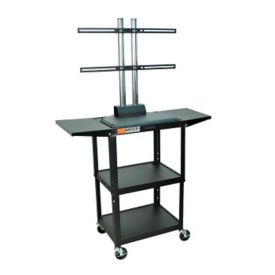 Adjustable Height Metal LCD Cart with Flat Panel Mount and Drop Leaves, M13197