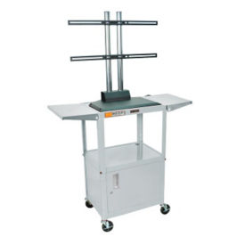 Adjustable Height Metal LCD Cart with Panel Mount, Drop Leaves and Cabinet, M13198