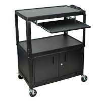 Adjustable Height AV Cart with Lower Storage Cabinet and Keyboard Tray, M16316