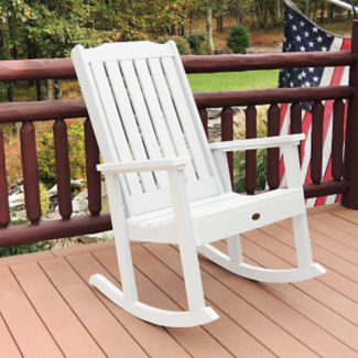 Synthetic Wood Vertical Slat Outdoor Rocking Chair, F10004