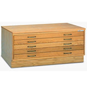 "53""W Five Drawer Wood Plan File, L40829"