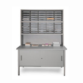 Mailroom Storage Table with Riser, Cabinet and 50 Slot Organzier, B30261