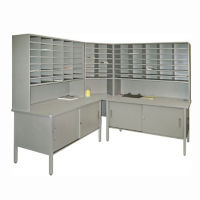 Mailroom Corner Storage Table with Riser, Cabinet and 84 Slot Organizer, B30263