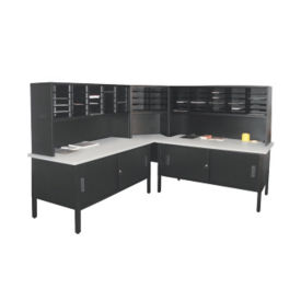 Mailroom Corner Storage Table with Riser, Cabinets and 60 Slot Organizer, B30265