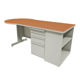"Conference Desk with Bookcase - 30"" D x 75"" W, D31176"