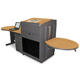 Teachers Desk and Media Center with Acrylic Door, D31178