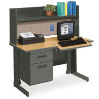 Modular Works Single Workstation with Hutch, E10227