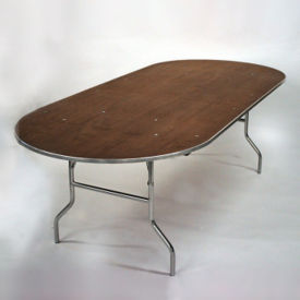 """Racetrack Plywood Folding Table - 42""""Dx96""""W, T10103"""