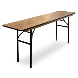 "Plywood Folding Table with Vinyl Bullnose Edging - 18""W x 96""D, T11620"