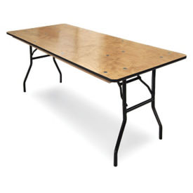 "Plywood Folding Table with Vinyl Bullnose Edging - 36""D x 96""W , T11623"