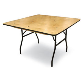 "Plywood Folding Table with Vinyl Bullnose Edging - 60""W x 60""D, T11626"