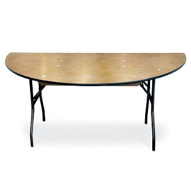 "Plywood Folding Table with Vinyl Bullnose Edging - 60"" Half Round, T11634"