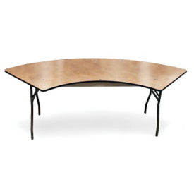 "Plywood Folding Table with Vinyl Bullnose Edging - 60"" Serpentine, T11637"