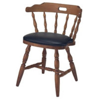Solid Wood Captains Chair with Vinyl Seat, K00077