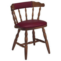 Wood Frame Captains Chair with Vinyl Seat and Back, K00078