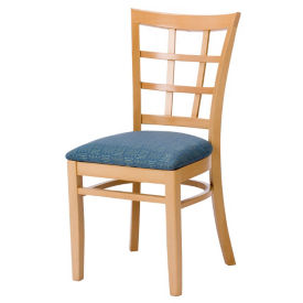 Lattice Wood Back Chair with Vinyl Seat, K00086
