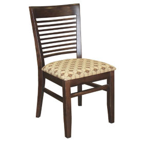 Ladder Wood Back Chair with Vinyl Seat, K00087