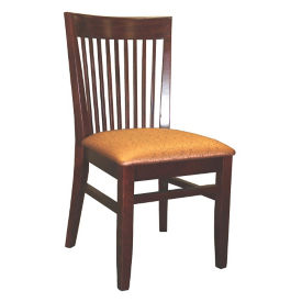 Vertical Slat Wood Back Chair with Vinyl Seat, K00088