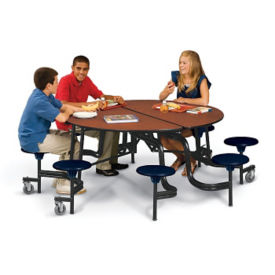 "Cafeteria Table with Stools 27""H and Chrome Frame, T11089"