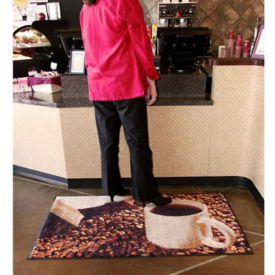 "Coffee Photo Carpeted Mat 36"" x 60"", W60168"