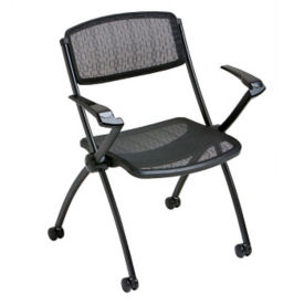 Mobile Mesh Stack Chair with Arms, C60197