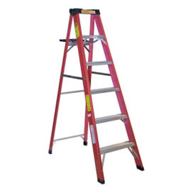 6'H Fiberglass Stepladder Medium Duty Type II , V21701